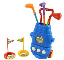 Kid Golf Cart Set with 3 Clubs 2 Holes 3 Balls Hand-held Ten