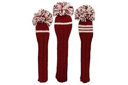 Sunfish Knit Wool Headcover Set Driver 3wood Hybrid Crimson