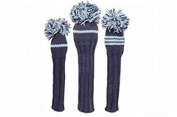 Sunfish Knit Wool Headcover Set Driver 3wood Hybrid Navy and