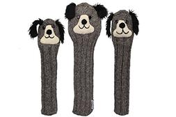 Sunfish Knit Wool Headcover Set Driver Fairway Hybrid Dog