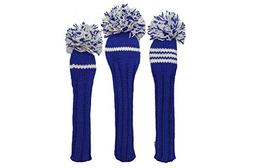 Sunfish Knit Wool Headcover Set Driver 3wood Hybrid Blue and