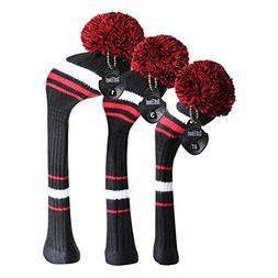 d1beae8d9e0 Scott Edward Knitted Golf Head Covers Set Black White Red St