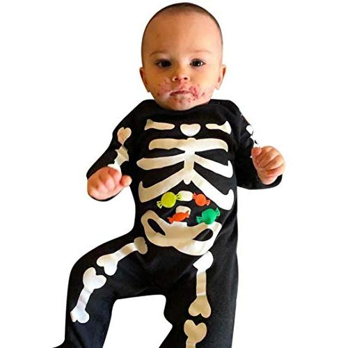SUNTEAMO Newborn Toddler Baby Halloween Bone Candy Print Rom