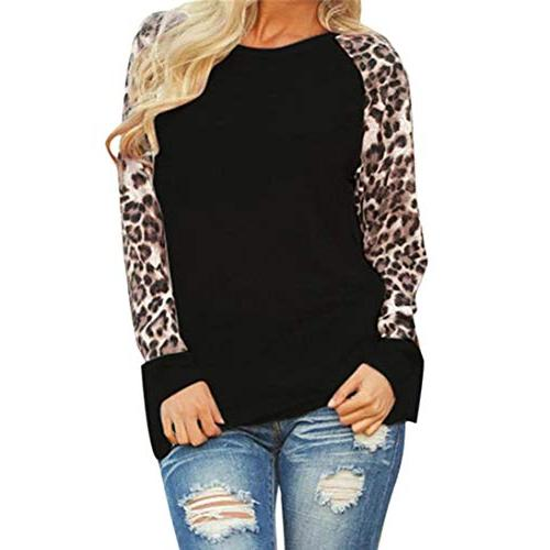 Womens Leopard Blouse Long Sleeve Fashion Ladies T-Shirt Ove