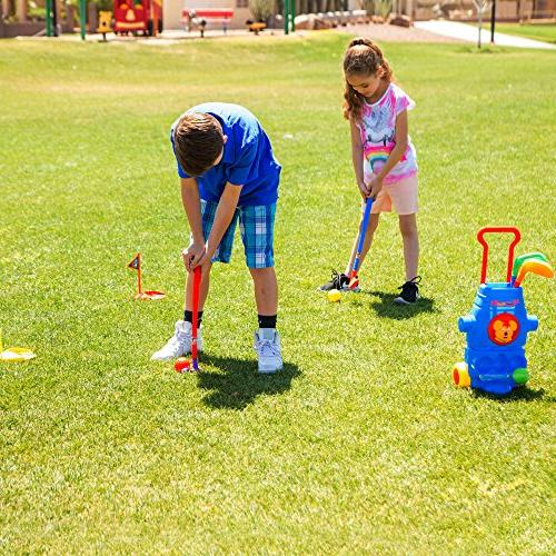 ToyVelt Kids Golf Set – Golf Wheels, Sticks, 2 Practice – Fun Toy Kit Boys &Girls – Physical & Mental