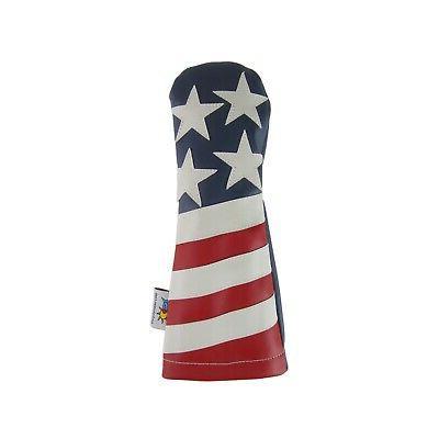 leather fairway wood golf headcover usa american