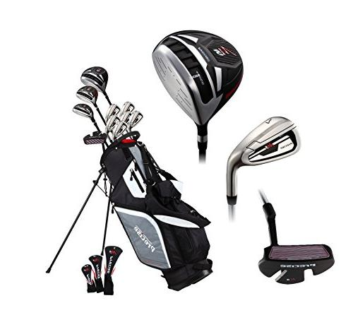 Top Line Men's Right Handed M5 Golf Set , Hybrid, 5, 6, 8, 9, PW Stainless Irons True Temper Shafts, Stand & 3 HCs