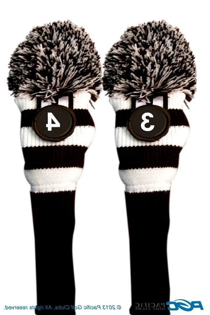 LIMITED Majek Black Pom Knit Club 3 HYBRID Head Covers