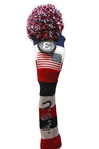USA Majek Golf 3 4 Set Headcovers Pom Knit Limited Classic Red White Blue Stripes Retro Set