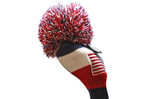 USA Majek Golf 2 3 Set Headcovers Knit Limited Edition Classic Traditional Flag Red Blue Retro Head Cover Set