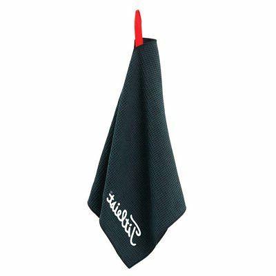 "New Titleist Microfiber Waffle Golf Towel 16"" x 32"" Black Wh"