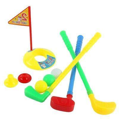 Plastic Golf Clubs Kids Golf Toy Set Practice Holes Golf Tee