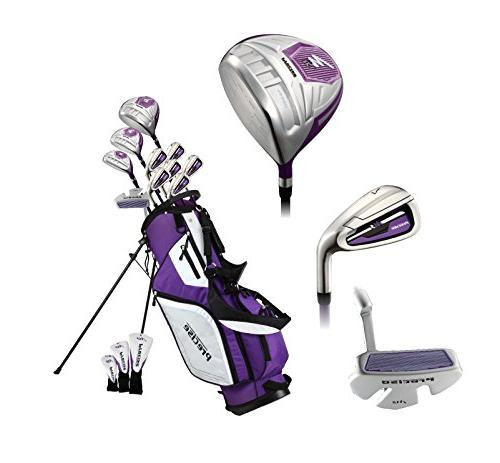 Precise M5 Ladies Complete Handed Clubs Driver, S.S. Hybrid, Putter, H/C's Purple