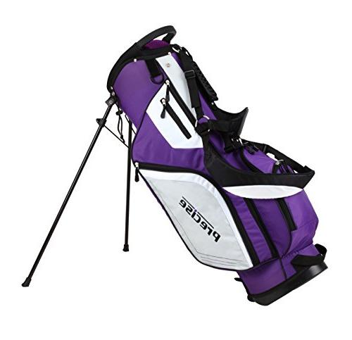 Precise Ladies Complete Right Handed Golf Clubs Set Includes Driver, S.S. S.S. Hybrid, S.S. 5-PW Putter, Stand Bag, 3 H/C's Purple