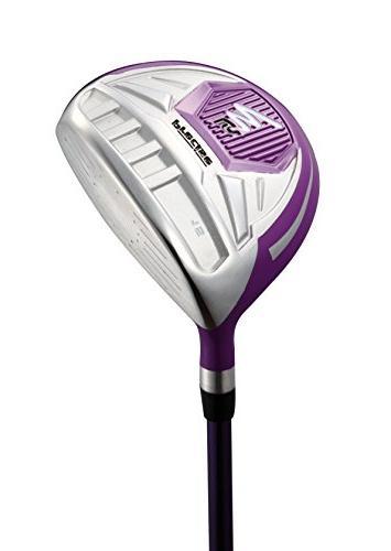 Precise Ladies Complete Handed Golf Clubs Set Includes Titanium Driver, Hybrid, 5-PW Putter, H/C's Purple