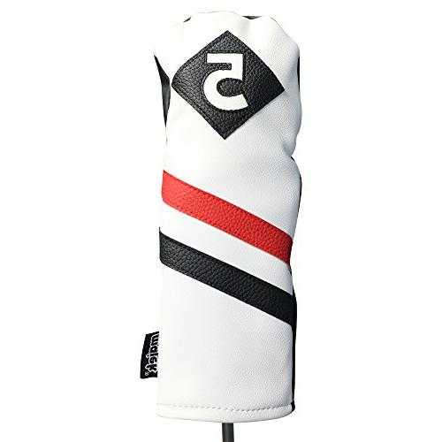 Majek Golf White Red and Black Vintage Leather 3 Fairway Covers 460cc Classic Look