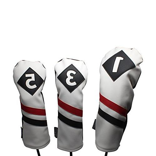 retro golf headcovers white red