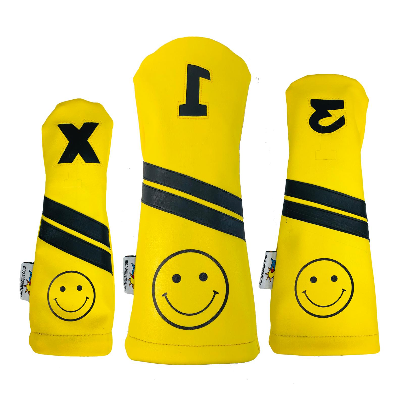 smiley face leather golf club headcover set