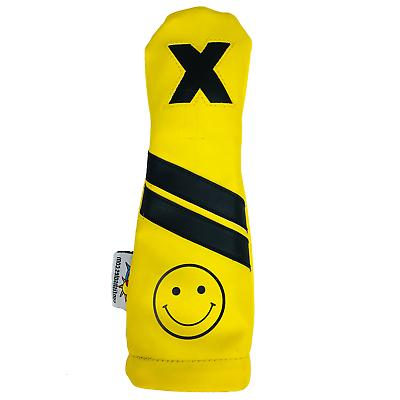 smiley face leather hybrid golf club headcover