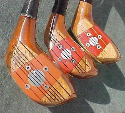 Solid PERSIMMON Clubs RH Woods Driver 4 Golf Pride