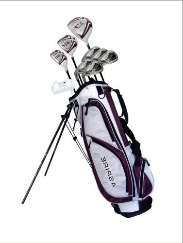 Aspire X1 Ladies Womens Complete Right Handed Clubs Set Driver, S.S. Hybrid, S.S. Irons, Putter, Stand H/C's Purple