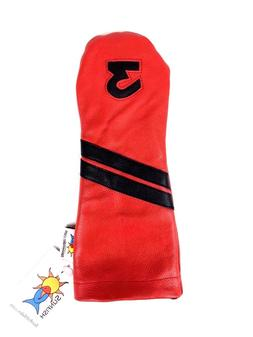 Sunfish Leather golf headcover red black 3 wood fairway