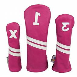 Sunfish Leather Headcover - Set - Pink and White