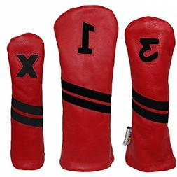 Sunfish Leather Headcover - Set - Red and Black