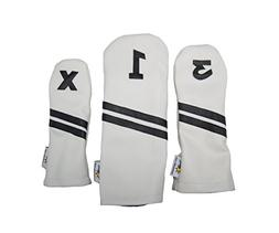Sunfish Leather Headcover Set 1-3-X White and Black