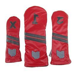Sunfish Leather Headcover Set 1-3-X Ohio State Buckeyes
