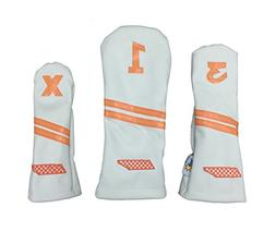 Sunfish Leather Headcover Set 1-3-X White Tennessee Voluntee