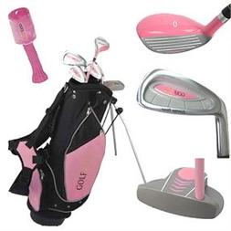 Golf Girl LEFTY Junior Club Set for Kids Ages 8-12 w/Pink St