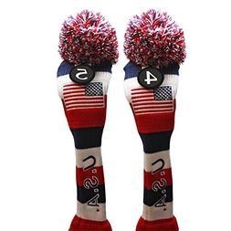 USA Majek Golf #4 & 5 Hybrid Headcovers Pom Pom Knit Limited
