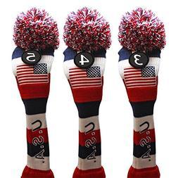 USA Majek Golf 3 4 5 Hybrid Set Headcovers Pom Pom Knit Limi