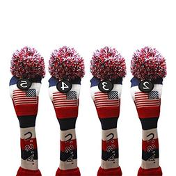 USA Majek Golf 2 3 4 5 Hybrid Set Headcovers Pom Pom Knit Li