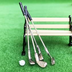 Miniature 1:12 Dollhouse Toy Golf Clubs Ball Outdoor Scene P