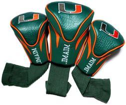 NCAA Miami Hurricanes 3 Pack Contour Golf Club Headcover