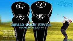 NEW DRIVER GOLF CLUB HEAD COVERS BLACK HEADCOVER FULL COMPLE
