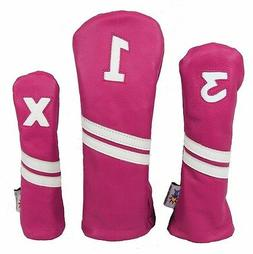 Sunfish Pink and White Leather golf headcover set - DR, FW,