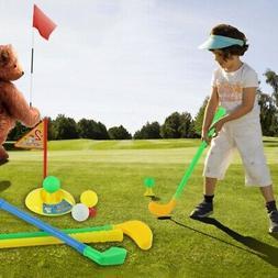 Plastic Kids Golf Toy Set Golf Clubs Holes Golf Tees Flag Pr