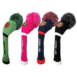 Pom Pom Golf Club Head Covers for Driver Fairway Hybrid Wood