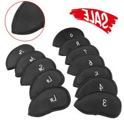 12 PACK PU Leather Golf Iron Head Covers Club Putter Headcov