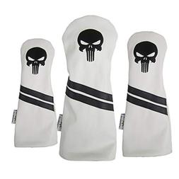 Sunfish Punisher Skull Leather Golf Headcover Set Black Logo