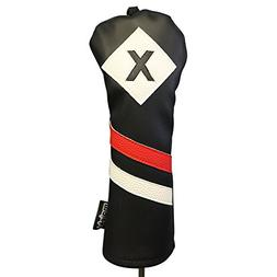 Majek Retro Golf Headcover Black Red and White Vintage Leath