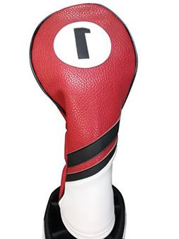 Majek Retro Golf Headcover Red Black and White Vintage Leath