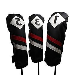 Majek Retro Golf Headcovers Black Red and White Vintage Leat