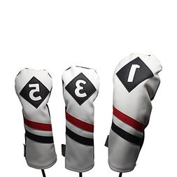 Majek Retro Golf Headcovers White Red and Black Vintage Leat
