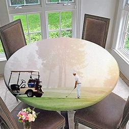 PINAFORE HOME Round Tablecloths Golfer lin up Shot with Iron