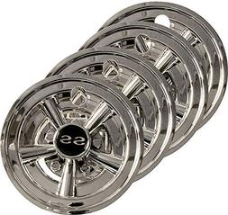 "3G Set  8"" SS Chrome Wheel Covers for EZGO, Club Car and Yam"