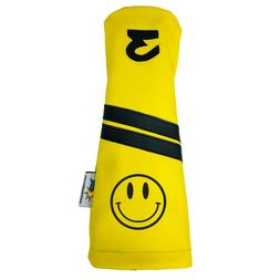 smiley face leather fairway golf club headcover
